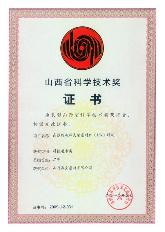 省科技進步獎證書